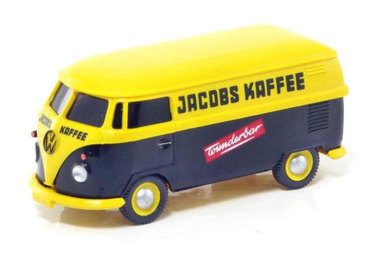 """VW Bus T1 Kastenwagen schwarz-gelb /"""" Jacobs Kaffee /"""" 1:87  NEU Wiking 0300 02"""